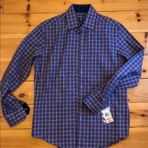 NWT Tasso Elba Plaid Dress Shirt